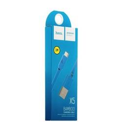 USB дата-кабель Hoco X5 Bamboo USB Type-C (1.0 м) Голубой