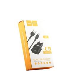 Адаптер питания Hoco C12 Smart dual USB charger set + Cable Type-C (2USB: 5V max 2.4A) Черный