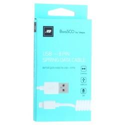 USB дата-кабель BoraSCO B-20548 charging data cable 2A Lightning (витой 2.0 м) Белый