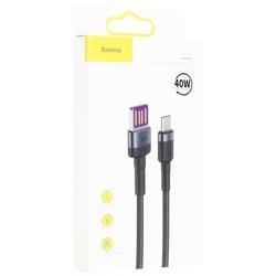 USB дата-кабель Baseus Cafule cable for Type-C 40W (10V-4A/ 5V-4.5A/ 4.5V-5A) (CATKLF-PG1) 1.0 м Черный