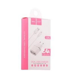 Адаптер питания Hoco C12 Smart dual USB charger set + Cable lightning (2USB: 5V max 2.4A) Белый