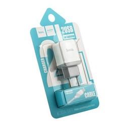 Адаптер питания Hoco C33A Little superior double port charger с кабелем Lightning (2USB: 5V max 2.4A) Белый