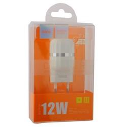 Адаптер питания Hoco C41A Wisdom dual port charger Apple&Android (2USB: 5V max 2.4A ) Белый