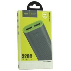 Аккумулятор внешний универсальный Hoco B31C-5200 mAh Sharp mobile Power bank (2 USB: 5V-1.0A) Gray Серый