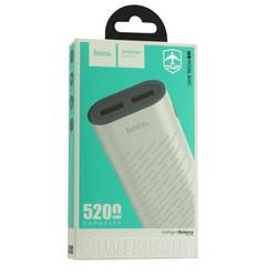 Аккумулятор внешний универсальный Hoco B31C-5200 mAh Sharp mobile Power bank (2 USB: 5V-1.0A) White Белый
