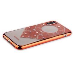 "Накладка силиконовая Beckberg Monsoon series для iPhone XS/ X (5.8"") со стразами Swarovski вид 2 Розовое золото"