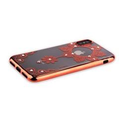 "Накладка силиконовая Beckberg Monsoon series для iPhone XS/ X (5.8"") со стразами Swarovski вид 4 Розовое золото"