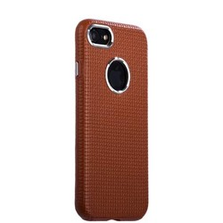 Накладка кожаная i-Carer для iPhone 8/ 7 (4.7) Transformer Real Leather Woven Pattern Back Cove (RIP710br) Коричневая
