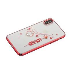 """Чехол-накладка KINGXBAR для iPhone XS/ X (5.8"""") пластик со стразами Swarovski 49Z красный (Love)"""