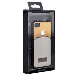 Чехол-накладка с яблоком для iPhone 4S/ 4 белая
