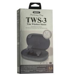 Bluetooth-гарнитура Remax TWS-3 True Wireless Stereo Headphones BT 5.0 стерео с зарядным устройством Серый