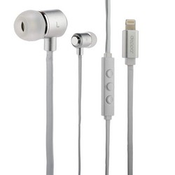 Наушники Deppa Stereo Lightning 8-pin D-44155 для Apple iPhone XS Max/ XS/ XR/ X/ 8/ 7/ SE, MFI Бело-серебристые
