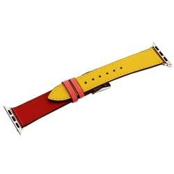 Ремешок кожаный COTEetCI W36 Fashoin Leather (WH5260-40-ACR) для Apple Watch 40мм/ 38мм (short) Желтый-Красный