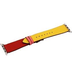 Ремешок кожаный COTEetCI W36 Fashoin Leather (WH5260-44-ACR) для Apple Watch 44мм/ 42мм (short) Желтый-Красный