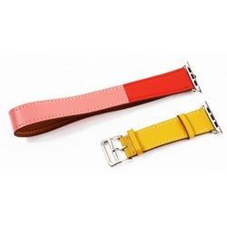 Ремешок кожаный COTEetCI W36 Fashoin Leather (WH5261-44-ACR) для Apple Watch 44мм/ 42мм (Long) Желтый-Красный