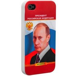Чехол-накладка UV-print для iPhone 4S/ 4 пластик белый глянцевый (тренд) Владимир Путин тип 3