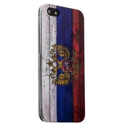 Чехол-накладка UV-print для iPhone SE/ 5S/ 5 силикон (гербы и флаги) Флаг России тип 001