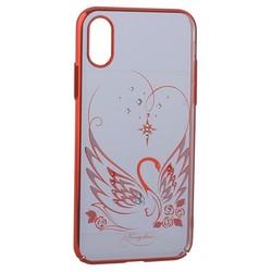 "Чехол-накладка KINGXBAR для iPhone XS/ X (5.8"") пластик со стразами Swarovski 49F Лебединая Любовь красный"