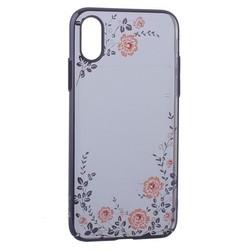 """Чехол-накладка KINGXBAR для iPhone XS/ X (5.8"""") пластик со стразами Swarovski 49F (розовые цветы) черный"""