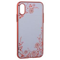 "Чехол-накладка KINGXBAR для iPhone XS/ X (5.8"") пластик со стразами Swarovski 49F (розовые цветы) красный"