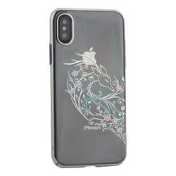 """Чехол-накладка KINGXBAR для iPhone XS/ X (5.8"""") пластик со стразами Swarovski 49F серебристый (Лань)"""