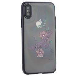 """Чехол-накладка KINGXBAR для iPhone XS/ X (5.8"""") пластик со стразами Swarovski 49F черный (Журавль)"""