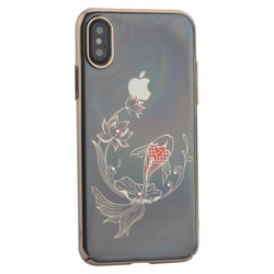 "Чехол-накладка KINGXBAR для iPhone XS/ X (5.8"") пластик со стразами Swarovski 49F золотистый (Рыбка)"