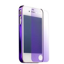 Накладка пластиковая&пленка i-Carer для iPhone 4S/ 4 Geometric Grid Series (RIP409purple) Фиолетовая
