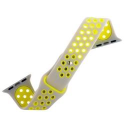 Ремешок спортивный COTEetCI W12 Sport Band (WH5216-TS-YL-38) для Apple Watch 40мм/ 38мм Серебристо-Желтый