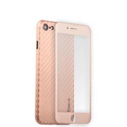 Чехол-накладка карбоновая Coblue 4D Glass & Carbon Case (2в1) для iPhone SE (2020г.)/ 8/ 7 (4.7) Розовый