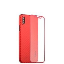 """Чехол-накладка карбоновая Coblue 4D Glass & Carbon Case (2в1) для iPhone XS/ X (5.8"""") Красный"""