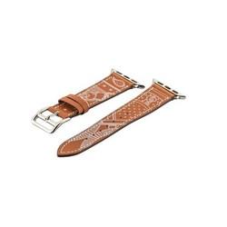 Ремешок кожаный COTEetCI W13 Fashion LEATHER (WH5218-KR-38) для Apple Watch 40мм/ 38мм Коричнево-белый