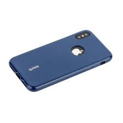 """Чехол-накладка силиконовый Cherry матовый 0.4mm & пленка для iPhone XS/ X (5.8"""") Синий"""
