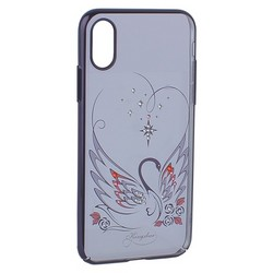 "Чехол-накладка KINGXBAR для iPhone XS/ X (5.8"") пластик со стразами Swarovski 49F Лебединая Любовь черный"