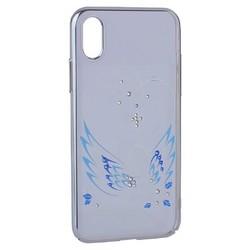 """Чехол-накладка KINGXBAR для iPhone XS/ X (5.8"""") пластик со стразами Swarovski 49F Лебединая Любовь серебристый"""