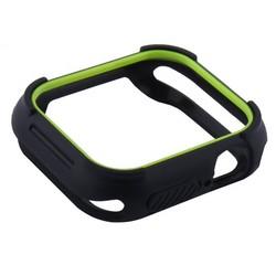 Чехол силиконовый бампер COTEetCI PU+TPU case для Apple Watch Series 5/ 4 (CS7051-BY) 40мм Черный (салатовый ободок)