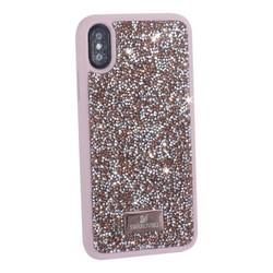 """Чехол-накладка силиконовая со стразами SWAROVSKI Crystalline для iPhone XS/ X (5.8"""") Розовое золото №1"""