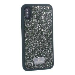 """Чехол-накладка силиконовая со стразами SWAROVSKI Crystalline для iPhone XS/ X (5.8"""") Темно-зеленый"""