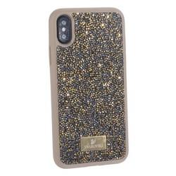 """Чехол-накладка силиконовая со стразами SWAROVSKI Crystalline для iPhone XS/ X (5.8"""") Оливковый"""