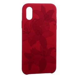 """Чехол-накладка силиконовый Silicone Cover для iPhone XS/ X (5.8"""") Орхидея Бордово-фиолетовый"""