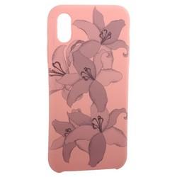 """Чехол-накладка силиконовый Silicone Cover для iPhone XS/ X (5.8"""") Орхидея Розовый"""