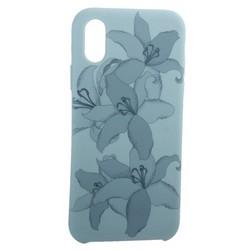 """Чехол-накладка силиконовый Silicone Cover для iPhone XS/ X (5.8"""") Орхидея Бирюзовый"""