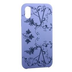 """Чехол-накладка силиконовый Silicone Cover для iPhone XS/ X (5.8"""") Узор Сиреневый"""