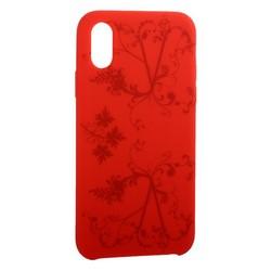 """Чехол-накладка силиконовый Silicone Cover для iPhone XS/ X (5.8"""") Узор Красный"""