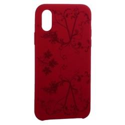 """Чехол-накладка силиконовый Silicone Cover для iPhone XS/ X (5.8"""") Узор Бордово-фиолетовый"""