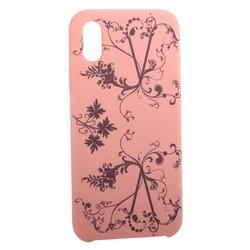 """Чехол-накладка силиконовый Silicone Cover для iPhone XS/ X (5.8"""") Узор Розовый"""