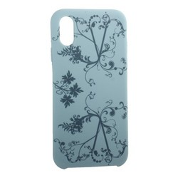 """Чехол-накладка силиконовый Silicone Cover для iPhone XS/ X (5.8"""") Узор Бирюзовый"""