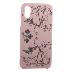 """Чехол-накладка силиконовый Silicone Cover для iPhone XS/ X (5.8"""") Узор Светло-коралловый"""