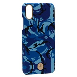 """Чехол-накладка KINGXBAR для iPhone XS/ X (5.8"""") пластик со стразами Swarovski (Синий камуфляж)"""