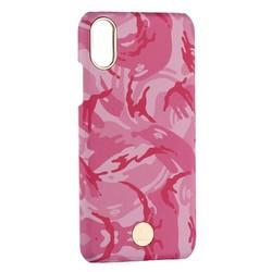 """Чехол-накладка KINGXBAR для iPhone XS/ X (5.8"""") пластик со стразами Swarovski (Розовый камуфляж)"""